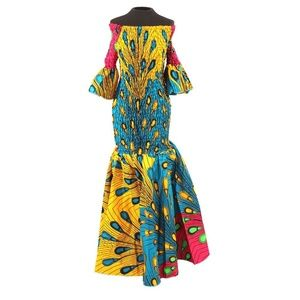 Dresses & Skirts - African-Made Multi-Color Peacock Gown